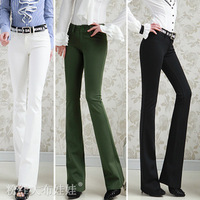 Free Shipping fashion elegant womens low-waist tight bell-bottom pants casual slim lady long flare pants trousers S-XL