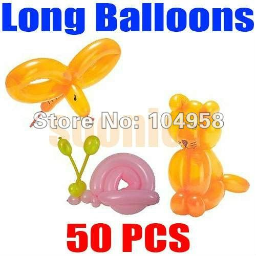 Free Shipping 50pcs/lot Long Balloons Animal Tying Making DIY Decoration Latex Twist Assorted Party(China (Mainland))