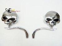 Skull Chrome Side Mirrors for Softail Sportster Street Glide Chopper