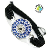 Free shipping Evil Eye Bracelet Crystal Bead Pave Charm Turkish Greek Macrame Bracelet 10pcs/lot