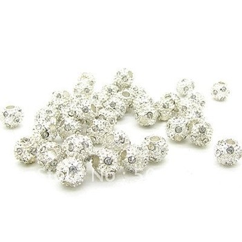 Hot Selling! 8mm Free Shipping  Fashion  Round and Silver Plated and CZ Diamond Beads fit Necklace&Bracelet 100pcs/lot  HA960