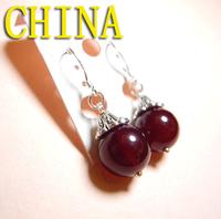Burgundy agate earrings retro earrings