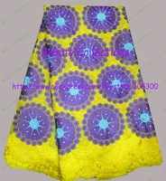 FREE shipping by DHL,african handcut lace fabric,swiss voile lace,wedding lace, 100%cotton,BCL00912 YELLOW/PURPLE