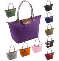 Wholesale - Long Faux leather Handle Tote Shopping Bag Nylon WaterProof Colorful Handbag