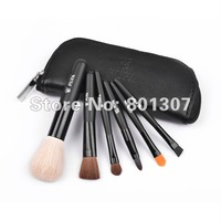 Free Shipping 1 sets/lot Black Zipper Fashion 6 pcs Cosmetic Brush Set