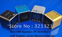 10pcs/lot- Portable Multimedia Music Player Mini MP3 Speaker Support USB Micro SD/TF card FM Radio with LCD  Lyrics display