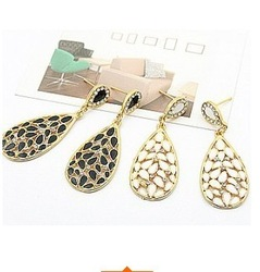 Sunshine jewelry store glazing rhinestone studded water drop earrings B418 (min order $10 mixed order)E190(China (Mainland))