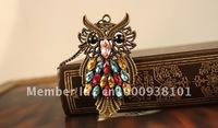 Fashion unique owl color rhinestone necklace