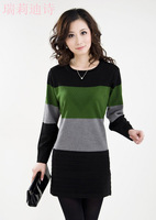 free shipping 2012 women's medium-long low o-neck long-sleeve sweater hot-selling winter dress