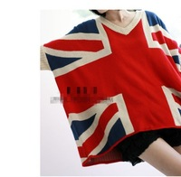 Free Shipping 2012 Fall Winter Plus Size Loose Causal Bat Sleeves UK Flag Pattern Sweater Fashion Ladies Sweater120913#18
