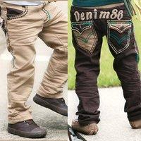 Брюки для девочек piece 2012 child male female double layer thickening warm pants winter clip jeans