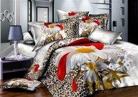 New Beautiful 4PC 100% Cotton Comforter Duvet Doona Cover Sets FULL / QUEEN / KING SIZE bedding set 4pcs Leopard texture & Daisy