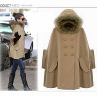 2012 autumn  winter outerwear women faux  fur collar cloak fashion woolen poncho overcoat cape good quality