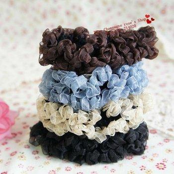 100pcs/lot.Chiffon folds cloth headbands/Elastic hairband/Hair accessories/Headwear.Free shipping.children's articles.TWB06M100