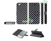 New Polka Dot PU Leather Case for iPhone 5 DHL free Shipping 7 Color