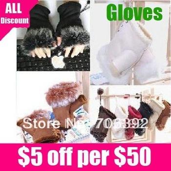 Free shipping 5 color New  Fashion Women's Winter Fingerless Rabbit Fur Gloves 1pair/lot