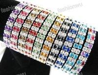 20 Pcs Colorful Double Row Rhinestone Spring Bracelet (1032)