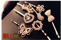 free shipping wholesale 10pcs/lot E6030 accessories pearl rhinestone flower bow love hair accessory hairpin side-knotted clip