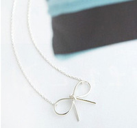 free shipping wholesale 10pcs/lot E4021 queer accessories brief bow pendant necklace hot-selling