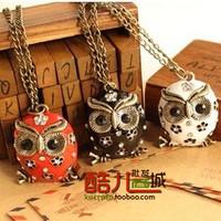 free shipping wholesale 10pcs/lot E4062 fashion accessories vintage cutout oil owl long design necklace multicolor