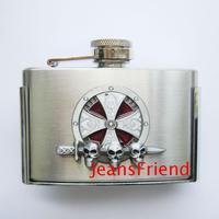 Buckle stainless steel hip flask 3 cross skull buckle belt buckle flask