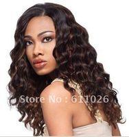 "free shipping cheap 18"" 1b# 100% real virgin malaysian deep body wave front lace wig"