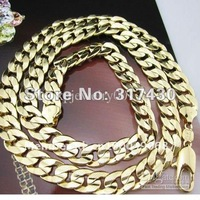 """Wholesale Low Price  Men's Necklace 14K YELLOW Gold Filled Necklace 23.6""""/9MM/50g GF Jewelry Curb Chain Free  hot new ARRIVAL"""