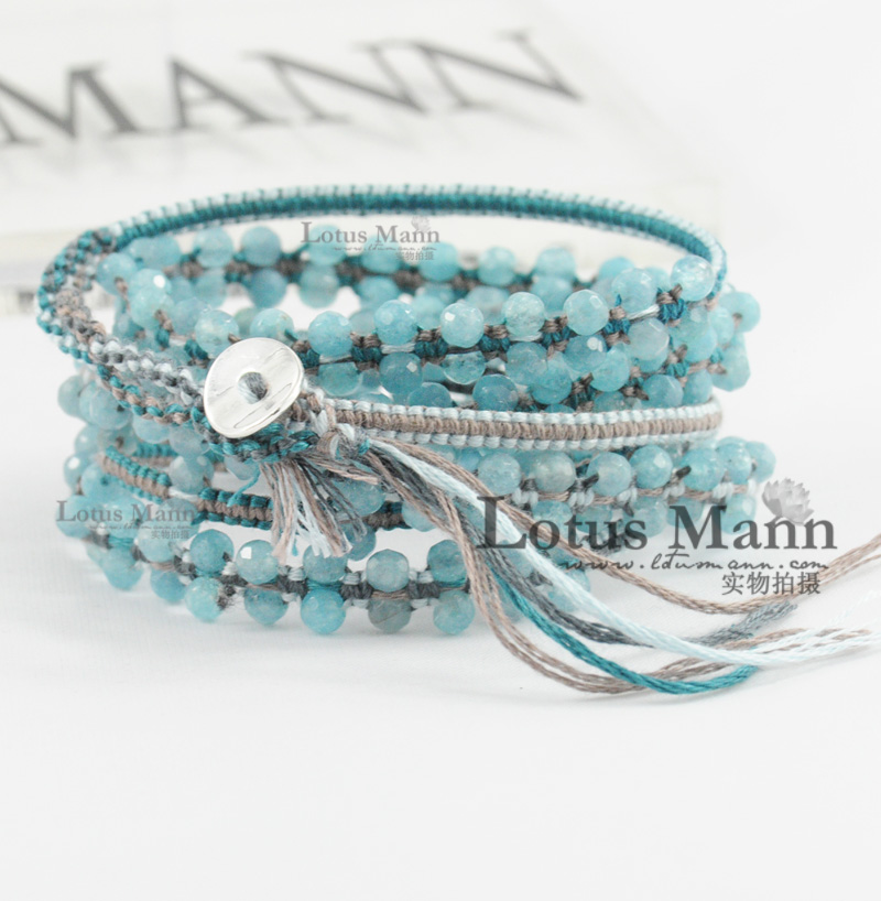 free shipping Lotusmanncl6 ring cotton baysalt aquamarine crystal bracelet 925 silver clasp Christmas woman or man gift(China (Mainland))