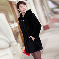 2012 Popular high grade Ladies' rabbit Fur coat ,Rex rabbit hair hooded slim Plus size Ladies' fur Overcoat,free shipping FH020