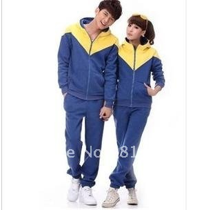 Zipper guard coat contrast color fleeces upset tracksuit hooded couple suit students class clothing collective suit(China (Mainland))