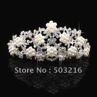 Free Shipping Bridal Tiara Crown Flower Pearl Wedding Hair Accessory a293
