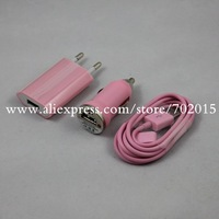 3in1 Travel Kit,Home Wall Charger+Car Power Charger+USB Data Sync Cable for Apple iPhone 4S 4 10sets 30pcs/lot,Free shipping
