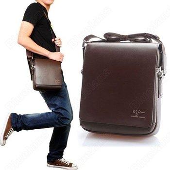 Fashion Kangaroo Mens Leather Crossbody Shoulder Messenger Bag Briefcase 2 Colors 2 Versions Free Shipping Handbag 000D