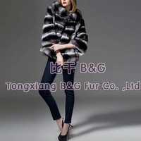 BG21187 Fashion 2012 Genuine Chinchilla Fur Jacket With Big Collar Winter Ladies Warm Garment Women Fur Coat  Chinchilla jacket