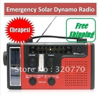 Free Shipping!! 1pcs/lot Hand-Crank Dynamo Receiver Station or Emergency Solar All-In-One Lantern Radio (color:red,black)