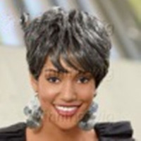 FreeShipping  Heat Resistant New Stylish Silver Gray Short Straight  Ladies's Fashion Sexy Synthetic Hair Wig/Wigs