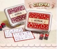 Free shipping  wholesale Fashion Korae 2 differfernt  lovely circus style rubber stamp set,iron box,tin case,DIY stamp,gift box