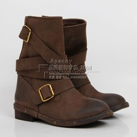 Jeffrey Campbell Brit Wrap Strap Booties sbuckle retro finishing vintage motorcycle boots