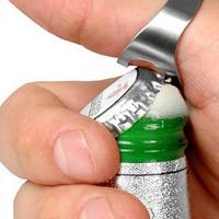 Wholesale-   New Stainless Steel Finger Ring Beer Bottle Opener #N502