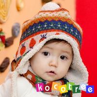 Kocotree print multicolour ear protector cap scarf set baby warm hat scarf 01001