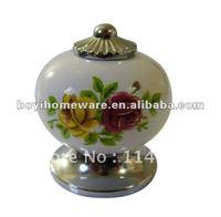 Silver zinc +flower ceramic / bar / cupboard handles/ cabinet cheap knobs wholesale & retail 100pcs/lot AL11-PC