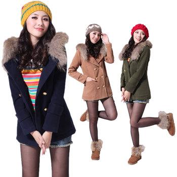 2012 Winter new Women wool coat genuine mink fur collar Korean high-grade wool coat