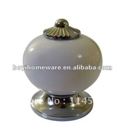 Silver zinc +white ceramic knobs/ kids dresser knobs/ door knobs/ cabinet knobss/ handle hardware wholesale 100pcs/lot AL0-PC