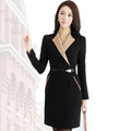 Autumn Women's 2012 Patchwork OL Skirt Elegant Slim Long-Sleeve Office Lady dress One Piece Free Shipping Korean Design