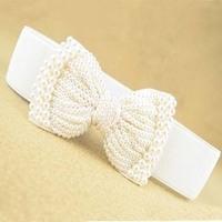 women pearl lace bow gentlewomen all-match newest solid cummerbund elastic belt