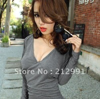 FREE SHIPPING The Krazy European style sexy nightclub Autumn bat sleeve backless low V-neck package hip sexy dress 1136