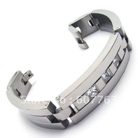 Super Fashion Korea Japan 316L Stainless Steel Mens Clear Zircon CZ Diamond Stones Inlay Bangles Bracelets