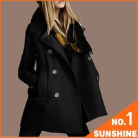 Free Shipping 2014 Autumn&Winter Fashion Double Breasted Wool Coat Women Clothes Black Khaki Orange Plus Size Outerwear FZL01