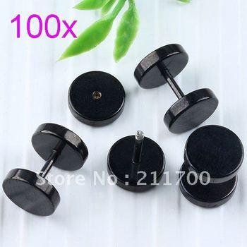 Free shipping 100pcs 18ga Stainless Steel Black Barbell Bead Men's Stud Ear Earring