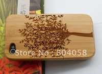 Free shipping wholesale  Real Natural Bamboo Wood Wooden Hard Case Cover For iPhone 4 4S Big Tree